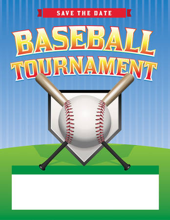 A baseball tournament flyer illustration. Room for copy space.  Vector