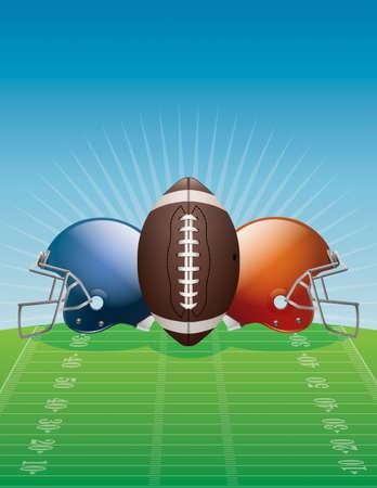 american football ball: An illustration of an American Football, helmets, and field.