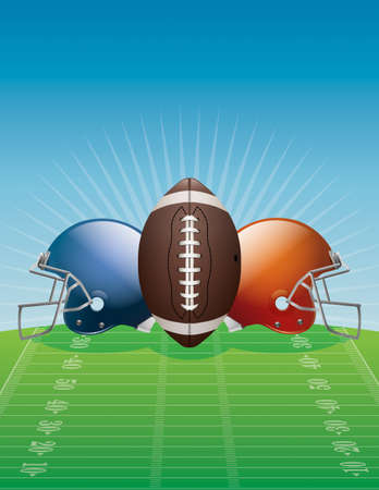 An illustration of an American Football, helmets, and field.