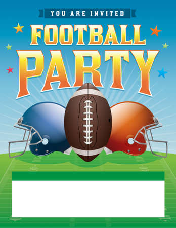 flyer background: American football party illustration.  Illustration