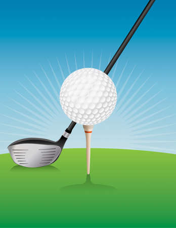 An illustration of a teed golf ball and driver.