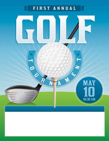 Un ejemplo para un torneo de golf. Ilustración de vector