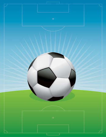 An illustration of a soccer ball football on a field background.