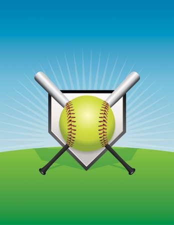 Una ilustración de softbol. Ilustración de vector