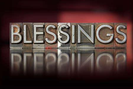 letterpress  type: The word Blessings written in vintage letterpress type