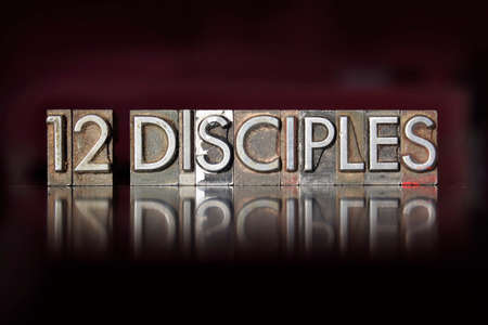 disciple: The words 12 Disciples written in vintage letterpress type Stock Photo