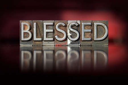 The word Blessed written in vintage letterpress type Stock Photo