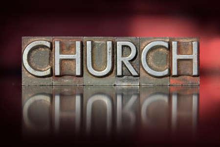 The word Church written in vintage letterpress type