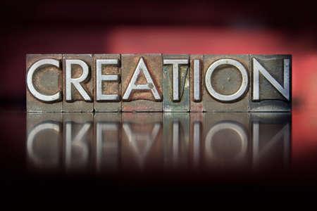 The word Creation written in vintage letterpress type photo