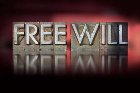 discretion: The words Free Will written in vintage letterpress type Stock Photo