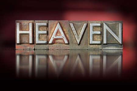 The word Heaven written in vintage letterpress type photo