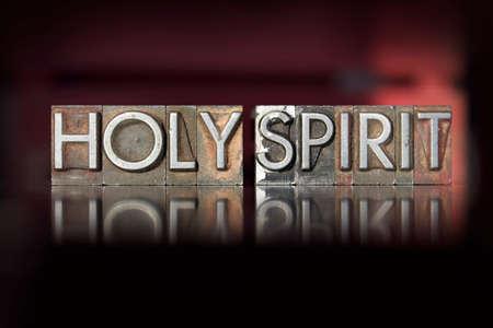 De woorden Heilige Geest geschreven in vintage boekdruk type