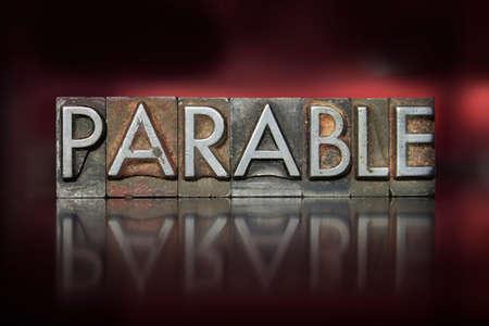 The word parable written in vintage letterpress type