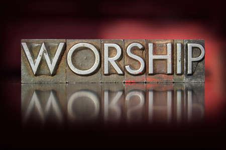 The word worship written in vintage letterpress type