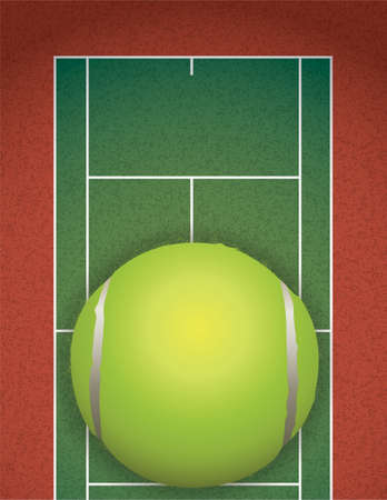 A realistic textured tennis court and tennis ball illustration