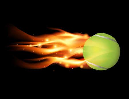 Pelota de tenis de volar en la ilustración del fuego