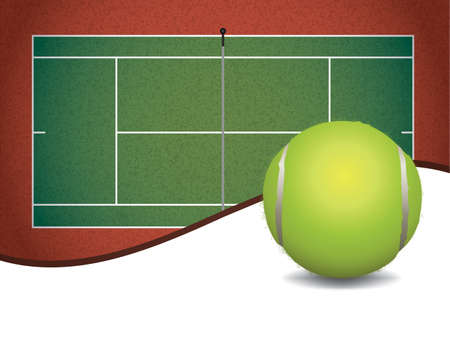 A tennis court and ball with room for copy space illustration Illustration