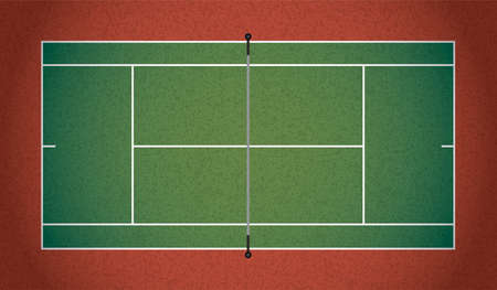 tennis court: A textured realistic tennis court illustration
