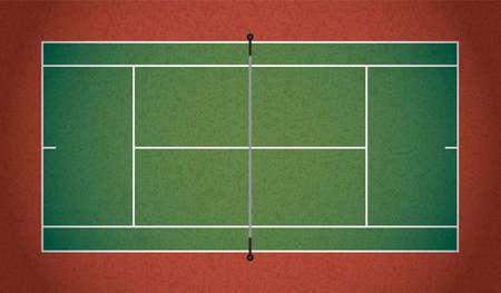 Een geweven realistische tennisbaan illustratie