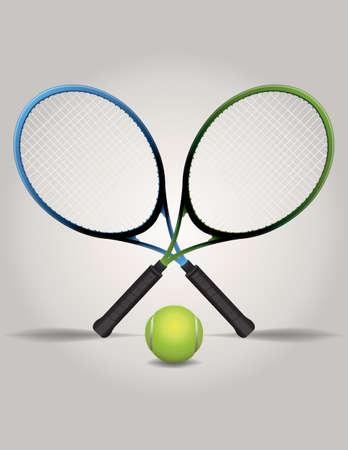 교차 테니스 라켓 및 공의 그림 일러스트