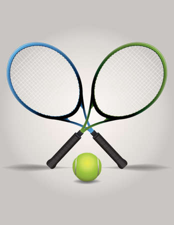 An illustration of crossed tennis racquets and a ball Reklamní fotografie - 31436714