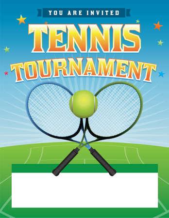 Een tennistoernooi illustratie Stock Illustratie