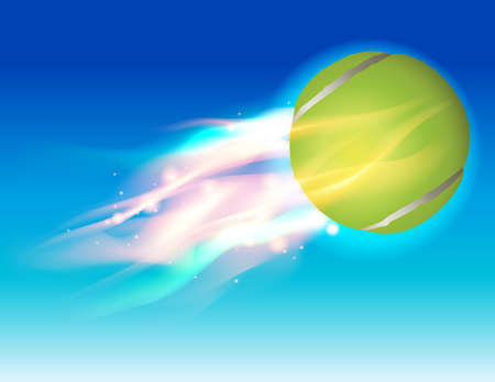 A flying tennis ball in flames in the sky illustration