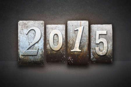 The year 2015 written in vintage letterpress type photo