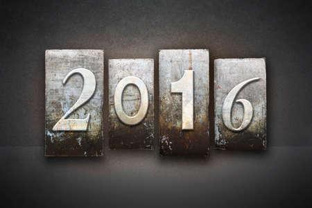 The year 2016 written in vintage letterpress type photo