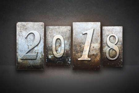 The year 2018 written in vintage letterpress type photo