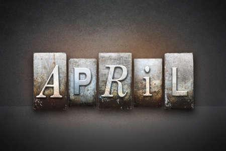 ビンテージ凸版タイプで書かれて 4 月