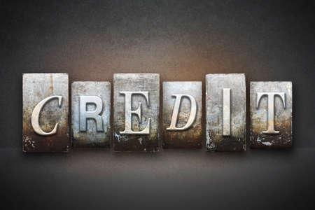 lien: The word CREDIT written in vintage letterpress type Stock Photo