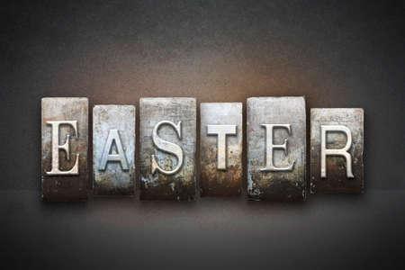 The word EASTER written in vintage letterpress type photo