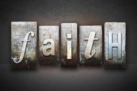 ビンテージ活版型で書かれた信仰の word