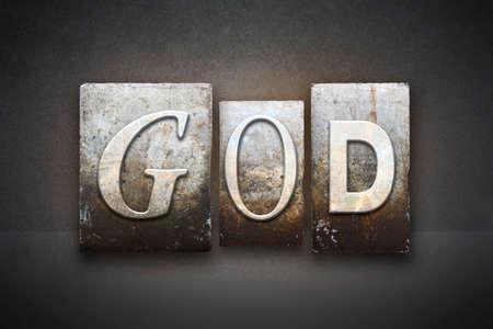 ビンテージ活版型で書かれた神の名前