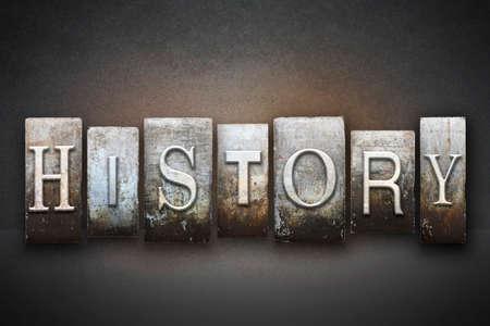 descendants: The word HISTORY written in vintage letterpress type