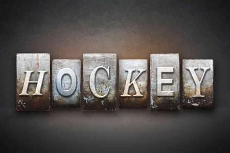 The word HOCKEY written in vintage letterpress type photo