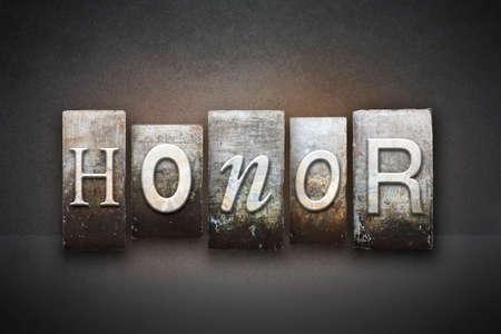 빈티지 활자 형식으로 쓰여진 HONOR라는 단어 스톡 콘텐츠