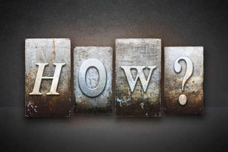 The question HOW? written in vintage letterpress type