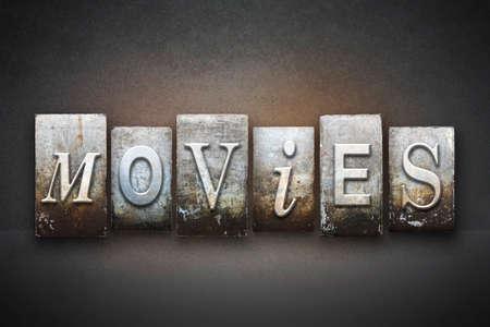 silent film: The word MOVIES written in vintage letterpress type