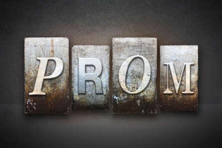 graduating seniors: The word PROM written in vintage letterpress type Stock Photo