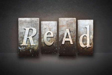 illiteracy: The word READ written in vintage letterpress type