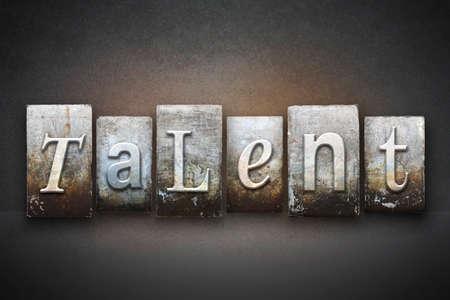 specialize: The word TALENT written in vintage letterpress type Stock Photo