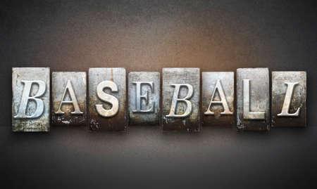 The word BASEBALL written in vintage letterpress type