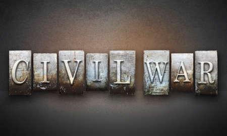 gettysburg battlefield: The words CIVIL WAR written in vintage letterpress type