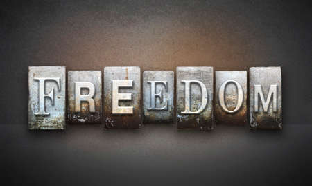 liberties: The word FREEDOM written in vintage letterpress type Stock Photo