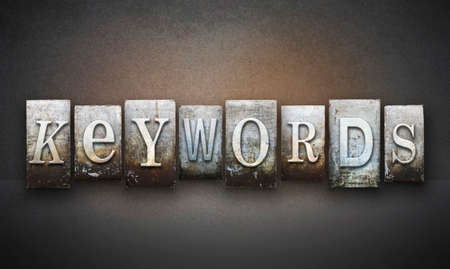 keywords: The word KEYWORDS written in vintage letterpress type