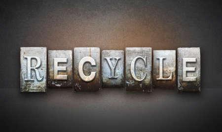 repurpose: The word RECYCLE written in vintage letterpress type