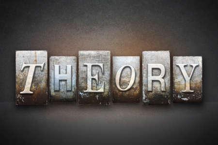 hipótesis: La palabra TEORÍA escrito en tipo de tipografía de época Foto de archivo