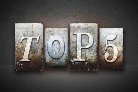 elite: The words TOP 5 written in vintage letterpress type